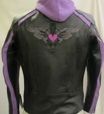 Womens Black & Purple Embroidered Leather Motorcycle Biker Jacket Zip out Hoodie