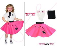 Hip Hop 50s Shop 4 pc Toddler Poodle Skirt Outfit Halloween or Dance Costume