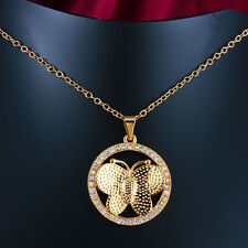 18K Gold White Gold Bowknot Circle Butterfly Crystal Pendant Necklace Party Gift