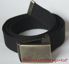 NEW BRASS FLIP TOP ADJUSTABLE BLACK CANVAS MILITARY GOLF WEB UNIFORM BELT BUCKLE