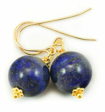 Natural Blue Lapis Lazuli Earrings Round 14k Gold Filled or Sterling Silver