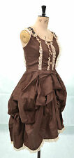 LAST ONE XS  RUCHED BROWN & CREAM STEAMPUNK LOLITA BUSTLE DRESS GOTHIC MEDIEVAL