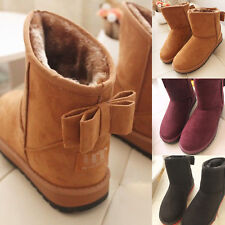 Women Cute Bowknot Winter Warm Ankle Snow Boots Mid Calf Shoes Size 6-8