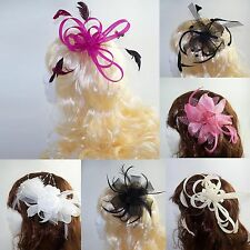 Fascinator on Clear Comb with Feather detail - Wedding Day, Ladies Day or Prom