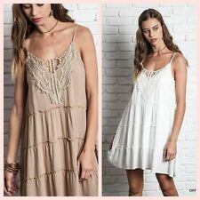 ��JUST IN Taupe or Off White Boho Summer  Crochet Sun Dress S M L