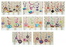 12 THEMED Foil Hanging Swirl Decorations {Amscan} (Party/Decoration/Birthday)