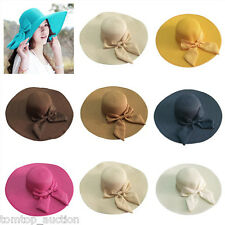 Women Foldable Straw Sunhat Cap Wide Beach Floppy Shell Brim Bowknot 8 Colors