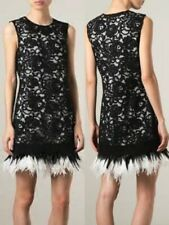 NWT DONNA KARAN ORIGINAL DKNY OSTRICH FEATHER HEM DRESS  8,10,12 BLACK LABEL