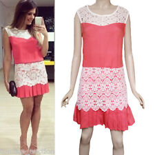 Women Lace Sleeveless Pleated Zipper Evening Party Cocktail Mini Dress S M L XL