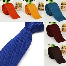 Lot Mens Fashion Solid Tie Knit Knitted Tie Necktie Narrow Slim Skinny Woven J96