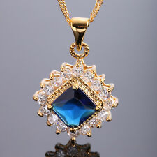 Fashion Jewelry 21Mm Blue Sapphire Yellow Gold Tone Pendant Necklace For Dress