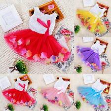 Baby Kids Girls Princess Pageant Party Tutu Dress Lace Bow Flower Tulle Skirts
