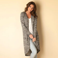 Womens Clubl Knitted Cocoon Cardigan In Grey, Designer Knitwear For Women