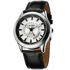 C6 US Mens Wrist Watch Classic Business Leather Strap Pointer Table Mechanical