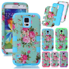 Peony Flower Skin Heavy Duty Combo Tough Matte Case Cover For Various Cell Phone
