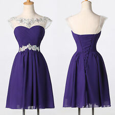 SEMI Party Short Prom Graduation Formal Bridesmaids BEADED Homecoming Dress Gown