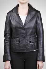 Ladies Black Leather Jacket Blazer Style Retro 2 button blazer