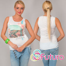 Ladies White Vest Top FLORAL Print Casual 100% Cotton T-Shirt Sizes 8-12 FB54