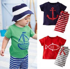 Baby Toddler Kids Boys Sailor Suit Casual Tops T-shirt Pants Outfits set 0~5Y