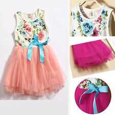New Kids Girls Toddler Princess Tulle Bow Floral Lace Skirt Princess Tutu Dress