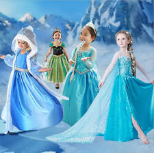 Hot FROZEN Princess Anna Elsa Queen Girl Cosplay Costume Party Formal Dresses