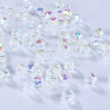Free ship 100 PCS Swarovski crystal 3mm or 4 mm 5301 Bicone Beads White AB