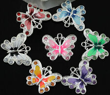 7Colour 5Pcs Silver Plated Enamel Rhinestone Crystal Butterfly Charms Pendant