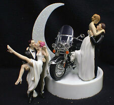 Wedding Cake Topper w/ Harley Davidson Motorcycle Black ROAD KING Sexy OR Kiss
