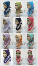 Beautfiul Embroidery Lace Children Kids Muslim Hijab Islamic Scarf Arab Shawls
