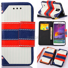 British Style Flip Folio Hybrid Leather Wallet Case For Samsung Galaxy S & Note