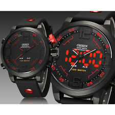 C6 US OHSEN Mens Wrist Watches LED Sports Silicone Rubber Military Quartz Watch