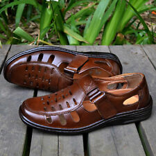 Spring Summer hollow middle-aged men's business casual leather sandals shoes
