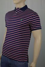 Ralph Lauren Navy Red White Cotton Interlock Polo Shirt Custom Fit NWT