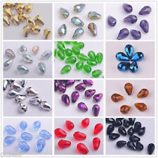 Lots 50/100Pcs Faceted Glass Crystal Teardrop Charms Spacer Beads 6x4mm 8x6mm