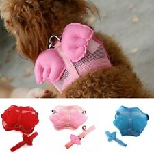 Hot Pet Dog Cat Adjustable Angel Wing Safety Harness Lead Leash Pink Blue 3 Size