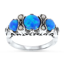 BLUE LAB OPAL PEARL ANTIQUE VICTORIAN DESIGN .925 STERLING SILVER RING, #48