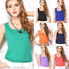 Womens Sleeveless Casual Chiffon Crew Neck Vests Tops Tank T-shirts Blouses