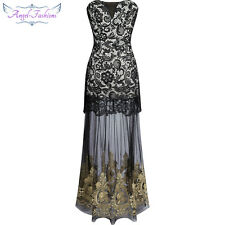 Angel-fashions Women Strapless Lace Embroidery Sheer Black Long Party Dress 144