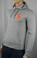 Polo Ralph Lauren Grey Big Orange Pony Hoodie Sweatshirt NWT $145