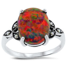 ORANGE LAB OPAL & PEARL ANTIQUE VICTORIAN STYLE .925 STERLING SILVER RING,  #157