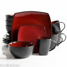 BRAND NEW GIBSON SOHO LOUNGE SQUARE 16 PIECE DINNERWARE SET-RED