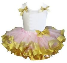 Light Pink Gold Tutu Bows White Tank Top Birthday Party Dress