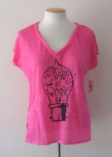 NWT Aeropostale Bethany Mota Genius At Work Boxy Graphic T Shirt Pink Tee Top M