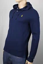 Polo Ralph Lauren Navy Blue Mesh Hoodie Shirt Yellow Pony NWT