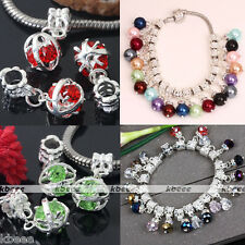 Crystal Glass Big Hole Dangle Faceted European Beads Fit Charm Bead Bracelet New