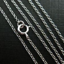 Sterling Silver Necklace 1mm Rolo Chain (All Sizes) Made in Italy-Beading Chain