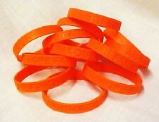 Orange IMPERFECT Bracelets Lot of 50 Piece Silicone Wristband Cancer Cause New