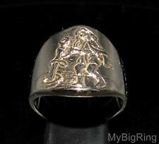 BRONZE MEN'S ZODIAC RING STAR SIGN AQUARIUS HIGH POLISHED ANY SIZE