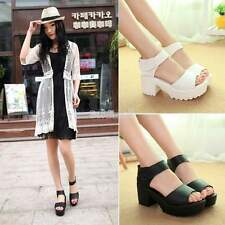 2015 Summer Woman Block Heel Creeper Sandals Velcro Ankle High Platform Shoes BE