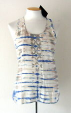 NWT CYNTHIA ROWLEY Womens 100% Silk Tank Top Tie Dye Racer Back Blue/Gray/Ivory